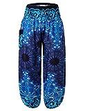 BaiShengGT Hosen Damen, Damen Pumphose Haremshose Blumenmuster Lange Boho Hose Casual Blau Medium