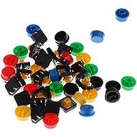 perfk 25pcs Botón pulsador táctil Momentáneo Tact & Cap kits surtidos 12x12x7.3 mm
