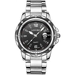 Men's Watch Waterproof Sports Watch Calendar Casual Men Watch Stainless Steel Strap 80101