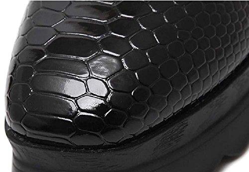 Onfly Pump Chaussures Décontractées Talons Compensés Femmes Rétro Confortable Carré Boucle Sur Ceinture Métallique Plate-forme Épaisse Snakeskin Motif Chaussures Muffin Chaussures Taille Eu 35-39 Noir