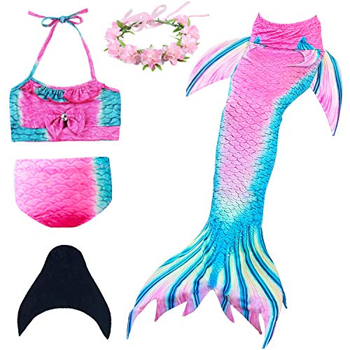 RandWind Meerjungfrau Schwanz Badeanzug Prinzessin Bademode Bikini Sets (150(10-12Y), Dazzle ()
