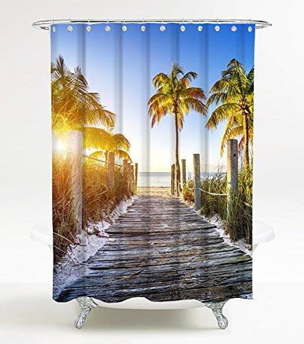 Duschvorhang Fort Lauderdale 180 x 180 cm, hochwertige Qualität, 100% Polyester, wasserdicht, Anti-Schimmel-Effekt, inkl. 12 - Duschvorhänge Palme