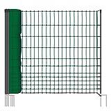 Rete pollame per recinzioni non elettrificabili, 112 cm di altezza e 50 m di lunghezza, a punta doppia, dotata di 16 pali, colore verde