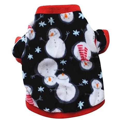 Etopfashion vêtements pour chien, bonhomme de neige de Noël velours
