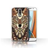 Stuff4 Hülle / Case für Motorola Moto G4 2016 / Wolf-Sepia Muster / Aztec Tier Muster Kollektion