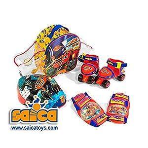 Blaze & Monster Machine - Set Mini Roller con Barra Ajustable, Rodilleras, Coderas y Casco (Saica 2139)