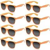 FSMILING lot Lunettes de soleil Vintage Femme Enfant Homme Couleurs au Decoration Fluo Fête (8 pièces Orange)