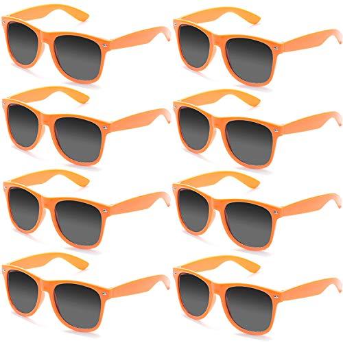 FSMILING Neon Farben Party Gefälligkeiten Herzform Sonnenbrille Set für Kinder Erwachsene (8 Stück Orange)