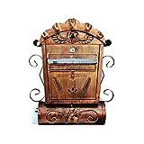 HYRL Cassetta delle Lettere Europea della Villa, con Cassetta Postale Aperta Retro della Cassetta delle Lettere Pastorale della Cassetta Postale all'aperto della Serratura