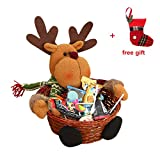 Christmas Candy Storage, Keepwin Xmas Decoration Ornament Santa/Snowman/Elk Basket Gift (18*18CM, Elk)
