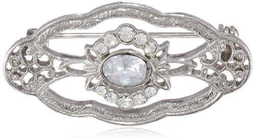Downton Abbey Silver-Tone Crystal Edwardian Oval Brooch