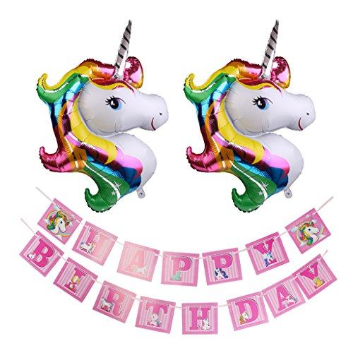 Baoblaze 51 Zoll Riese Ballons groß Einhorn Latex Ballon mit Happy Birthday Girlande Einhorn Banner Set für Festival Kinder Geburtstagsfeier Party Dekorationen (Einhorn Happy Birthday Banner)