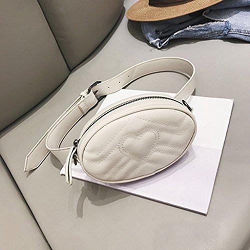 Gürteltasche PU Leder Damen Handtasche Schulter Messenger Brust Tasche Lingge Kleine Tasche Mini Handy Brieftasche (Größe: 17 * 5 * 12cm) (Farbe : Weiß) - Leder Ein-schulter Brieftasche