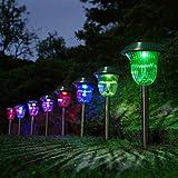 LED Solarleuchte Gartenleuchte Solarlampe aus Edelstahl,IP44,Solar Laternen Stableuchten Garten Tischleuchte Lights (Bunte Verfärbung, 4 Stück)