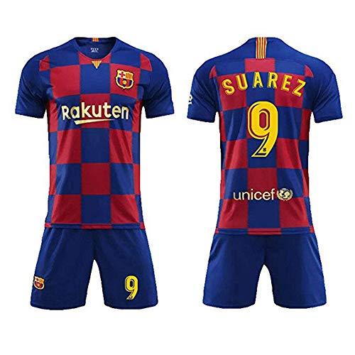LLMM Trikot Fußball Trikot Barcelona Trikot Suarez 9# Trikot Erwachsene Kinder Anzug Kurzarm + Shorts Fußball Uniform,20~(Child~25~35kg/120~130cm) -