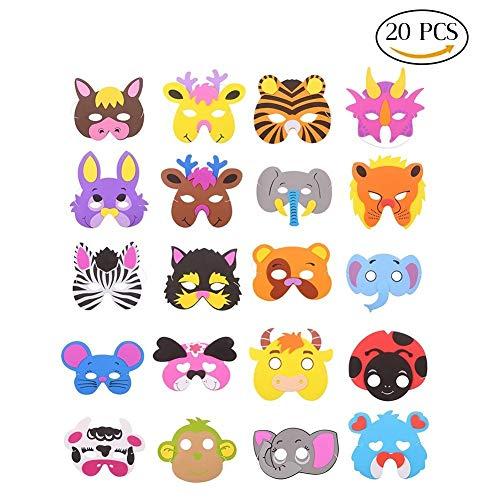 ccinee 16sortiert Kinder Schaumstoff Tier Masken für Tütenfüller, 24Stück