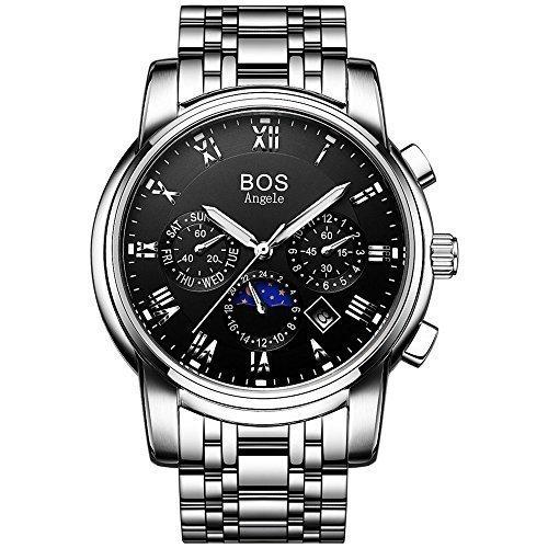 Angela bos Hombre Analog Wrist Cronógrafo Negro Reloj con pulsera Enlace de acero inoxidable 9011