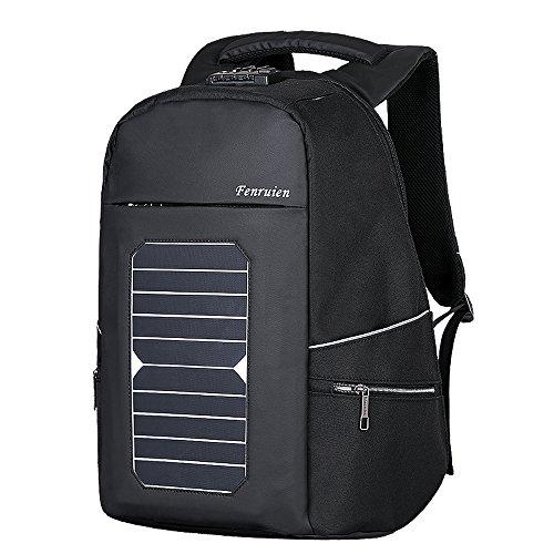 Eshow Männer Laptop Rucksack mit USB-Port-Ladegerät Solar-Ladegerät für Reise-diebstahlsichere umweltfreundliche Leinwand Daypack Schule Business 17,6 Zoll laptop, schwarz