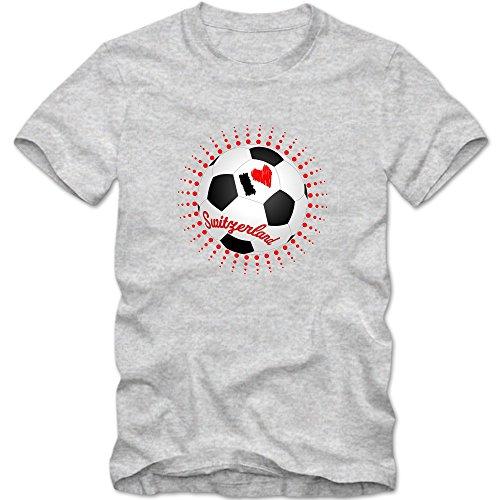 Schweiz EM 2016 #6 T-Shirt | Fußball | Herren | Trikot | Schweizer pati | Nationalmannschaft © Shirt Happenz Graumeliert (Grey Melange L190)