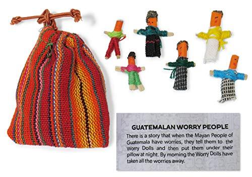 Muñecos quitapenas - Personas guatemaltecas quitapenas-Bolsa de 6 pequeños muñecos hechos a mano