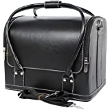 TRIXES Black Cosmetics Multi Compartment Leather Case Vanity Make Up Organiser Carry Case