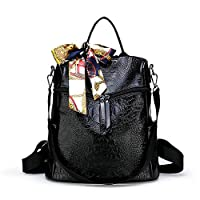 HEIMIAOMIAO Ladies bag Female Multifunction Backpack PU leather Solid Color Crocodile Pattern Backpacks Fashion Women Shoulder Bags