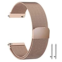 20mm Milanese Loop Watch Band Magnetic Closure Mesh Stainless Steel Replacement Strap for Samsung Gear S2 Classic/Galaxy Watch 42mm / Amazfit bip - Rose Gold