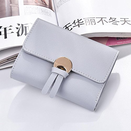 Portafoglio Donna, Tpulling Borsa della borsa della borsa della frizione della borsa del raccoglitore del cuoio delle donne (Gray) Gray