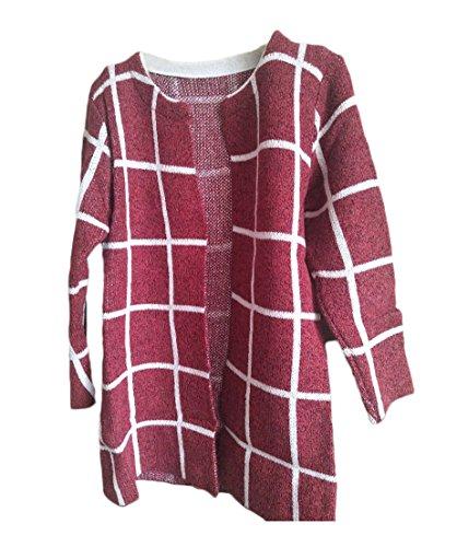 Femme Open Cardigan À Manches Longues Gilet Chandail Outwear Coat Tricot Longues À Carreaux Sweater Manteau Vin rouge