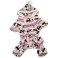 Doggy Apparel Vêtements, Malloom 1PC Nouveau chien de chien élégant Warm vêtements Puppy Jumpsuit Hoodie Manteau (XXL, Rose)