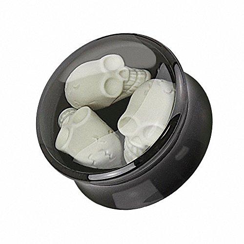 Piercingfaktor Ohr Plug Flesh Tunnel Piercing Ohrpiercing Kunststoff Double Flared mit 3D Totenschädel Inlay Schwarz Weiß 20mm