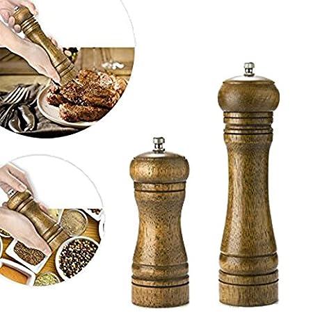 Lot de 2pcs (12,7 cm + 20,3 cm) en bois/chêne Moulin Sel et Poivre avec broyeur en céramique réglable et solide, Bois dense, naturel, Taille unique