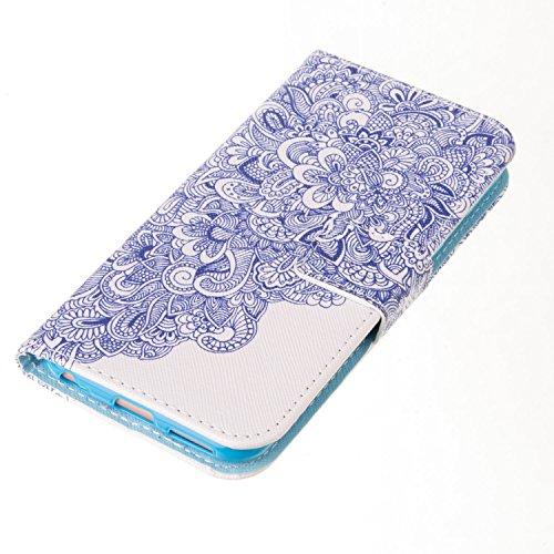 Ooboom® iPhone 5SE Coque PU Cuir Flip Housse Étui Protecteur Cover Case Wallet Portefeuille Rabat Fonction avec Carte de Crédit Fentes pour iPhone 5SE - Pissenlit Amour Bleu et Blanc