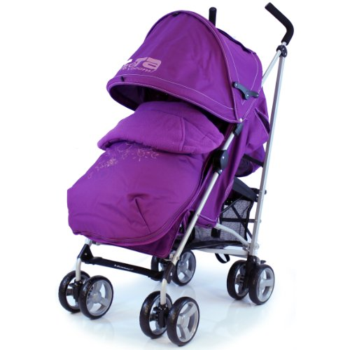 Zeta Vooom Stroller Complete with Foot Muff and Raincover (Plum Hearts and Stars)