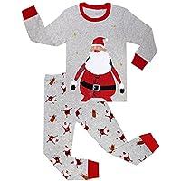 Tkria Bambini Ragazzi a maniche lunghe pigiama di Natale costume di Babbo Natale 0-6 anni