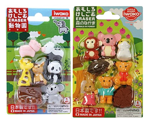 Iwako Japanese Erasers / Zootiere, Niedliche Tiere, Safari Tiere / Totale 18 Tiere & 3...
