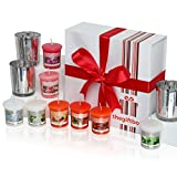 An Exclusive Scented Candle Gift Set by The Gift Box Containing 8 Beautifully Scented Candles and 3 Metallic Glass Candle Holders. Scented Candles Make Ultimate Gifts for Women, Great Gifts for Her or Perfect Women's Gifts (Moonmist