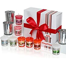 An Exclusive Scented Candle Gift Set by The Gift Box Containing 8 Beautifully Scented Candles and 3 Metallic Glass Candle Holders. Scented Candles Make Ideal Christmas Gifts for Women, Great Gifts for Her or Perfect Women's Gifts (Moonmist