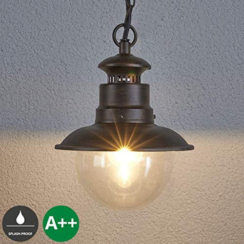 Lampenwelt Außenleuchte \'Eddie\' dimmbar (spritzwassergeschützt) (Landhaus, Vintage, Rustikal) in Braun aus Glas (1 flammig, E27, A++) - Pendelleuchte außen