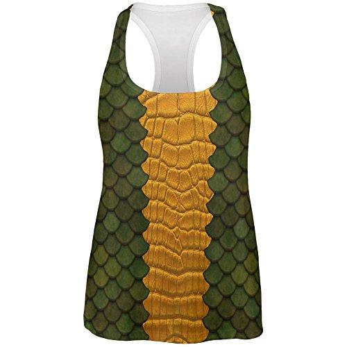 Old Glory Halloween Grün Drachen Kostüm Alle über Womens Work Out Tank Top Multi ()