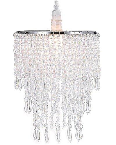 WanEway 3 Stufiger Decken Kronleuchter Anhänger Lampenschirm mit Acryl Juwelen Tröpfchen, Perlen Lampenschirm mit Chrome Rahmen und klaren Perlen, Durchmesser 22cm, Klar - Kleiner Chrome-rahmen