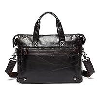 Stepack Brand Vintage Men's Genuine Leather Business Bag Large Breifcase (Dark Coffee)
