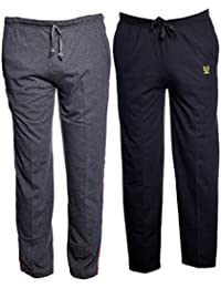 VIMAL JONNEY Multicolor Print and Plain Cotton Trackpants for Men (Pack of 2)-D1A_D10B_02-P