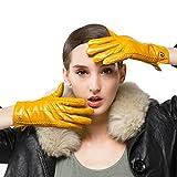 Nappaglo Damen klassische Handschuhe aus echtem Nappaleder Reines Kaschmir-Futter Winter Warm Handschuhe (M (Umfang der Handfläche:17.8-19.0cm), Gelb(Non-Touchscreen))