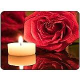 (Präzision gesäumt) Rose Candle Mousepad - Non Slip Mouse Pad