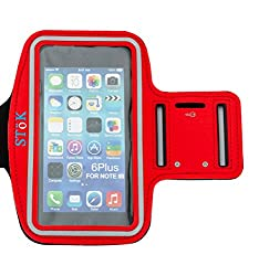 Stok (Red) Water Resistant Sports Armband With Key Holder For All Smart Phone Under 5.5 Inch Smart Phones And Iphone 7,7Plus,6,6Plus,6S,6S Plus (5.5-Inch)