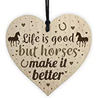 RED OCEAN Funny Friendship Gift Horse Gifts For Women Girls Wooden Heart Accessory Stable Wall Door Sign