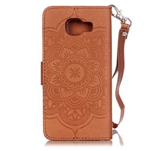 iPhone SE Fall, iPhone SE Leder Case, Flip Wallet Case für iPhone 5S, toyym 3D Dreamcatcher Premium Muster bunt PU Leder Wallet Case Cover Tasche [Magnetverschluss] mit Kartenschlitzen für Apple iPhon braun