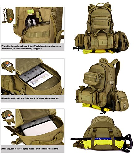 Huntvp Tactische Rucksack Militarische Wasserdichte Trekkingrucksacke Molle Tasche Wanderrucksäcke Unisex Schultasche Assault Pack für Camping Reisen Trekking 35L Schwarz