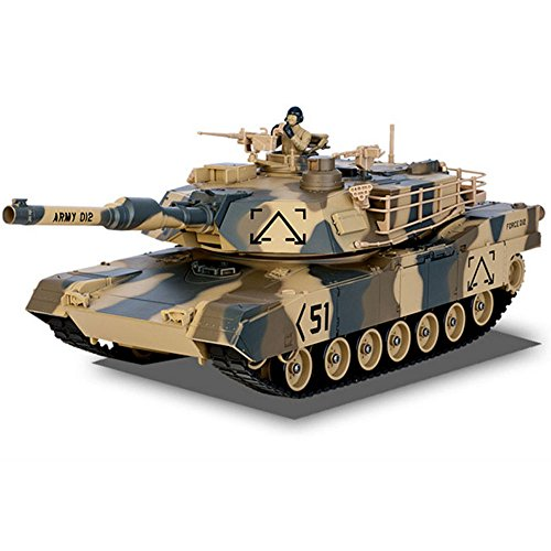 Huatuo®Tank with wireless remote control military model tank for kids, send bullets, children's rechargeable toy car (Army yellow)